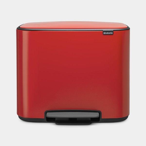 Brabantia Bo Pedaalemmer - 3 x 11 liter - Passion Red
