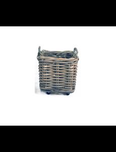 Van der Leeden Basket Thick Rattan Grey On Wheels - (L)50 x (B)50 x (H)52 cm
