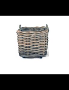 Van der Leeden Basket Thick Rattan Grey On Wheels - (L)65 x (B)65 x (H)60 cm