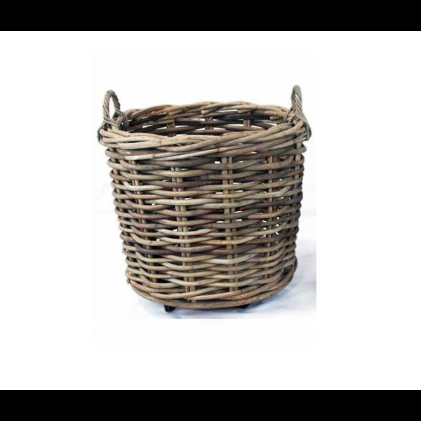 Van der Leeden Basket Rattan Grey On Wheels - (D)65 x (H)60 cm