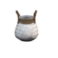 Basket Bamboo White - (D)34 x (H)24 cm