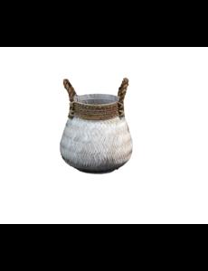 Van der Leeden Basket Bamboo White - (D)34 x (H)24 cm