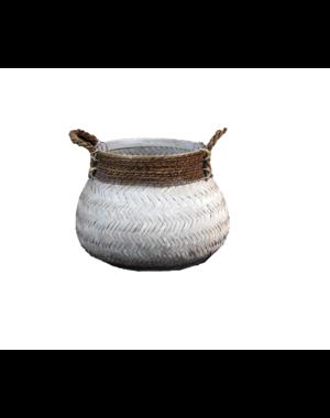 Van der Leeden Basket Bamboo White - (D)46 x (H)35 cm