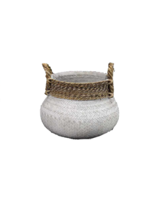 Van der Leeden Basket Bamboo White - (D)58 x (H)40 cm