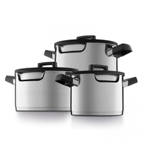 Downdraft kookpannenset - 3 delig - RVS - Veilig afgietsysteem