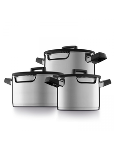 BergHOFF Downdraft kookpannenset - 3 delig - RVS - Veilig afgietsysteem