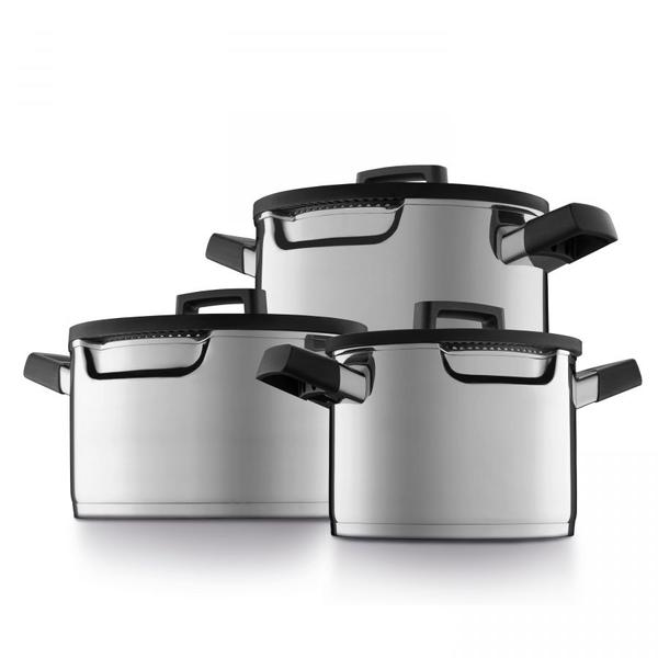 BergHOFF BergHOFF Downdraft kookpannenset - 3 delig - RVS - Veilig afgietsysteem