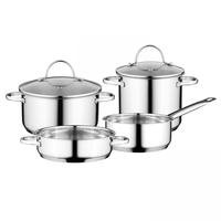 Essentials Comfort Kookpannenset - 4 delig - RVS - met glazen deksels