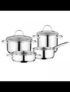 BergHOFF Essentials Comfort Kookpannenset - 4 delig - RVS - met glazen deksels