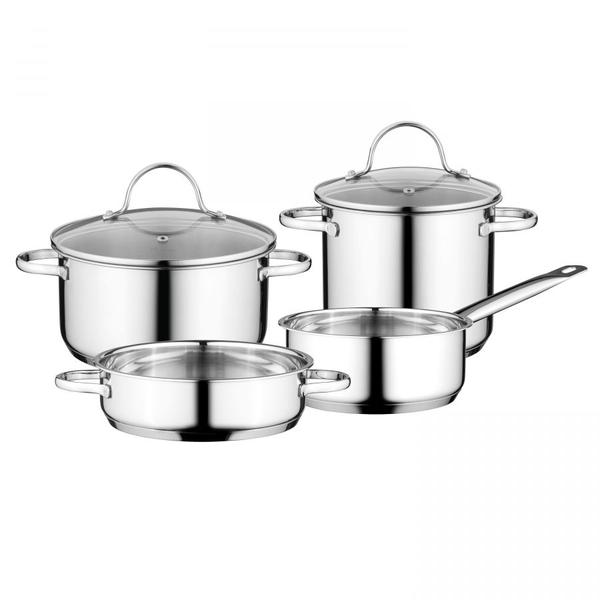BergHOFF BergHOFF Essentials Comfort Kookpannenset - 4 delig - RVS - met glazen deksels
