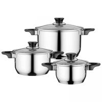 Essentials Gourmet Kookpannenset - 3 delig - RVS - met glazen deksels