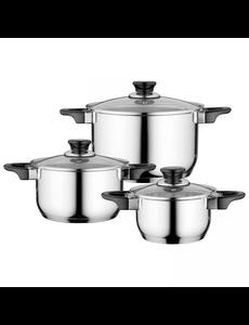 BergHOFF Essentials Gourmet Kookpannenset - 3 delig - RVS - met glazen deksels
