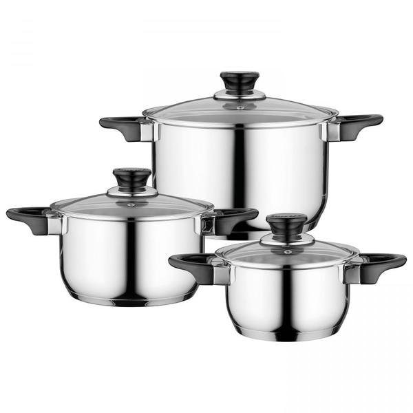 BergHOFF BergHOFF Essentials Gourmet Kookpannenset - 3 delig - RVS - met glazen deksels