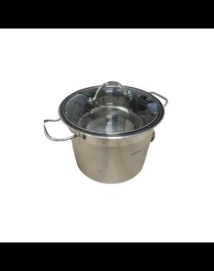 KINGHOFF Soeppan - 9 liter - RVS - met glazen deksel