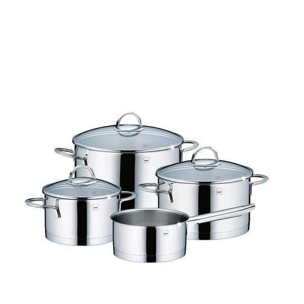 Kela Kela Cailin Kookpannenset - 4 delig - RVS - met glazen deksels