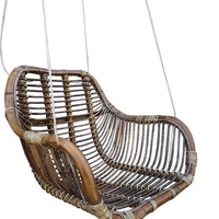 Rotan hangstoel Fly Brown - (L)66 x (B)65 x (H)49 cm - Steel Wire