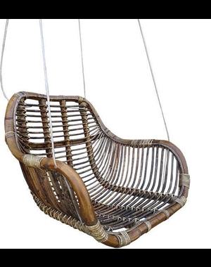 Van der Leeden Rotan hangstoel Fly Brown - (L)66 x (B)65 x (H)49 cm - Steel Wire
