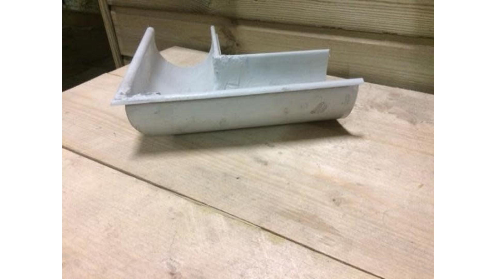 Dakgoot G250 Wit/Grijs buitenhoekstuk