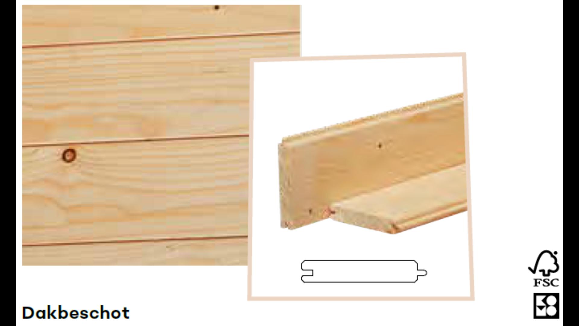 Vuren dakbeschot onbehandeld 1.6x9.5 cm