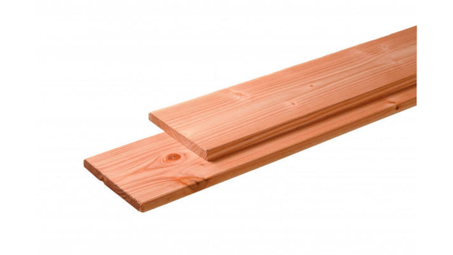 Douglas plank 2,8x19,5 1 kant bezaagd en 1 kant geschaafd 400 cm