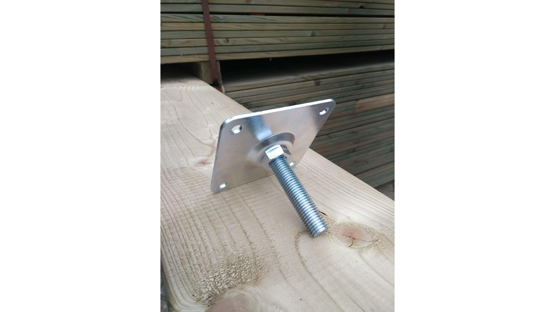 Verstelplaat tbv betonpoer M20 delux Verzink 10x10cm