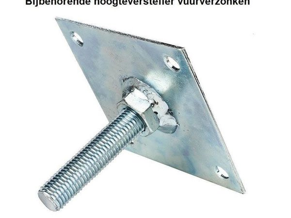 Verstelplaat tbv betonpoer M16 Verzinkt 10x10 cm