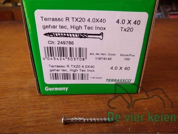 Hardhout Terrassco RVS schroef  4x40 mm 100st