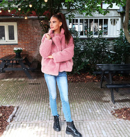 Teddy Coat - Jas Kort Roze