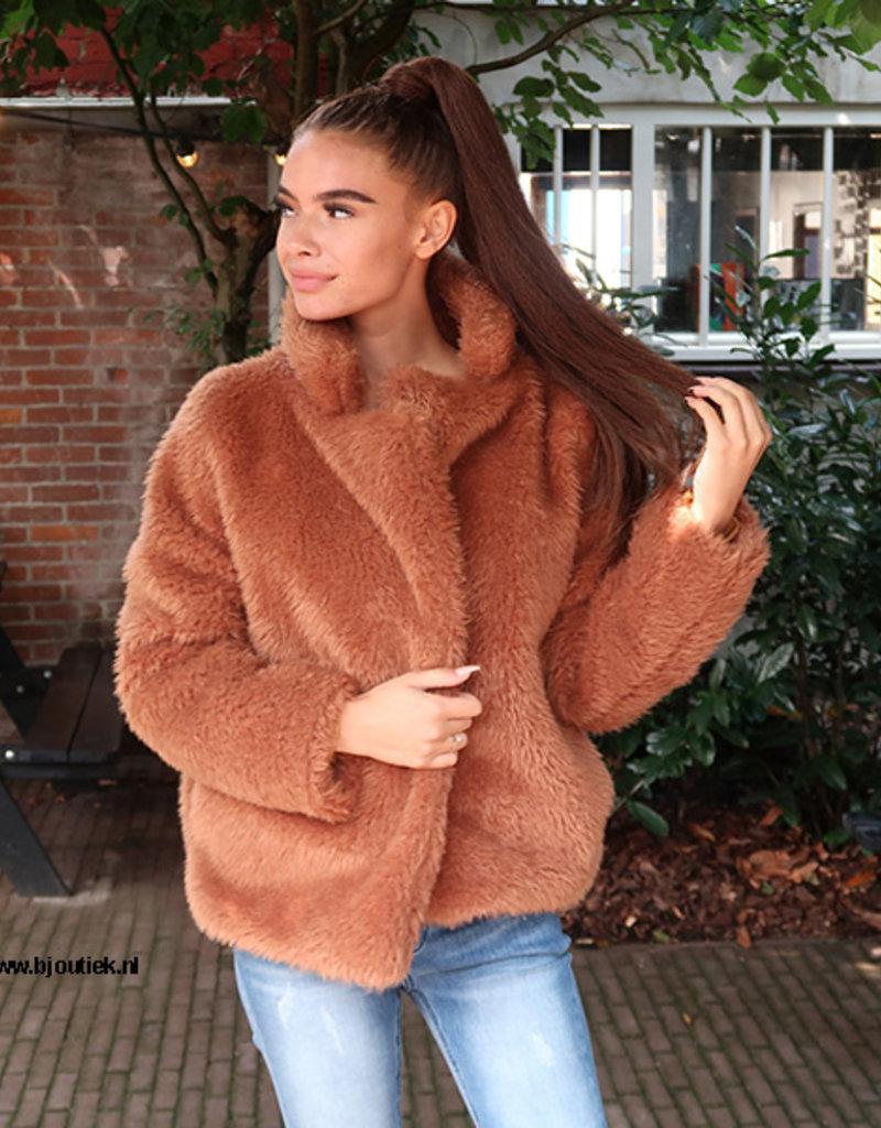 Teddy Coat Jas Kort Bruin