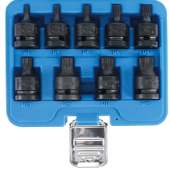 "Impact bit Socket Set  12.5 mm (1/2"") Drive  Spline (for XZN) M4 - M16  9 pcs."