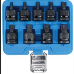 """Kracht dopsleutelbitset  12,5 mm (1/2"""")  veeltand (voor XZN) M4 - M16  9-dlg"""