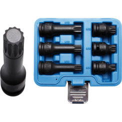 "Impact Bit Socket Set  12.5 mm (1/2"") Drive  Spline (for XZN) M14 - M18  6 pcs."
