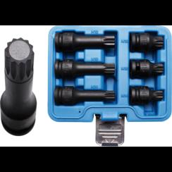 """Kracht dopsleutelbitset  12,5 mm (1/2"""")  veeltand (voor XZN) M14 - M18  6-dlg"""