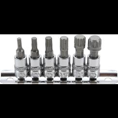 """Dopsleutelbitset  6,3 mm (1/4"""")  veeltand (voor XZN) M4 - M12  6-dlg"""