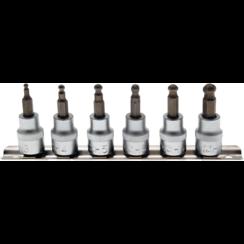 """Dopsleutelbitset  10 mm (3/8"""")  INBUS met kogelkop 3 - 8 mm  6-dlg"""