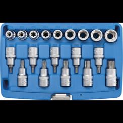 "Dopsleutelbit-/dopsleutelset  12,5 mm (1/2"")  E-profiel /Torx  19-dlg"