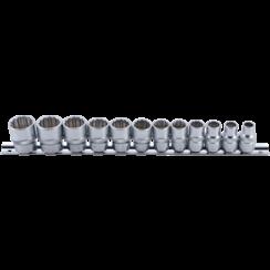 "Socket Set, 12-point  10 mm (3/8"") Drive  8 - 19 mm  12 pcs."