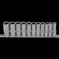 "Socket Set, 12-point, deep  10 mm (3/8"") Drive  8 - 19 mm  11 pcs."
