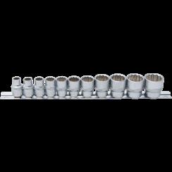 "Socket Set, 12-point  10 mm (3/8"") Drive  Inch Sizes  11 pcs."