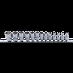 """Socket Set, Hexagon  6.3 mm (1/4"""") Drive  4 - 14 mm  13 pcs."""