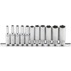 "Socket Set, Hexagon, deep  6.3 mm (1/4"") Drive  4-13 mm  11 pcs."