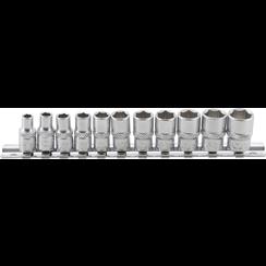"Socket Set, Hexagon  6.3 mm (1/4"") Drive  Inch Sizes  11 pcs."