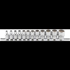 "Socket Set, 12-point  6.3 mm (1/4"") Drive  Inch Sizes  12 pcs."