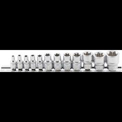"""Socket Set, E-Type  6.3 mm (1/4"""") / 10 mm (3/8"""") Drive  E4 - E20  12 pcs."""