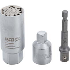 "Multi Socket with Adaptor Set  10 mm (3/8"") Drive  9 - 21 mm  3 pcs."
