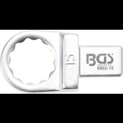 Insteek-ringsleutel  15 mm  opname 9 x 12 mm