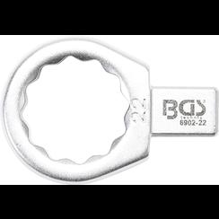Insteek-ringsleutel  22 mm  opname 9 x 12 mm
