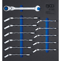 Tool Tray 2/3: Ratchet Wrenches  adjustable  8 - 19 mm  12 pcs.