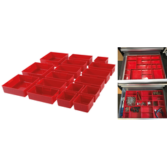 Plastic Strorage Trays  for Workshop Trolley  17 pcs.