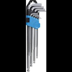 "L-Type Wrench Set  Inch Sizes  internal Hexagon / internal Hexagon with Ball Head 1/16"" - 3/8""  9 pcs."